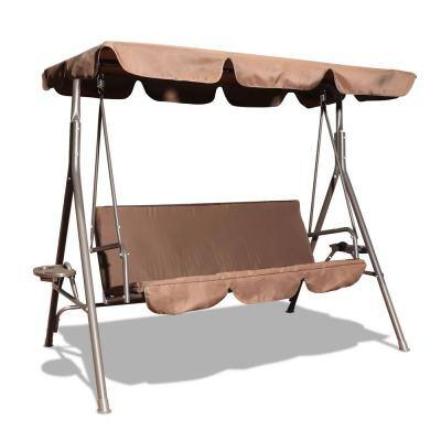 3-Person Metal Outdoor Patio Swing Chair with Canopy and Coffee Cushion
