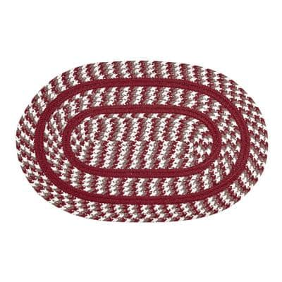 Crecent Braid Collection is Durable and Stain Resistant Reversible Red 8 ft. x 10 ft. Oval Polypropylene Area Rug