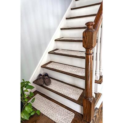 Ivory 8 in. x 28 in. Stair Treads Braided Lefebvre Indoor/Outdoor