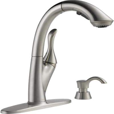 Linden Single-Handle Pull-Out Sprayer Kitchen Faucet with Soap Dispenser and High Arc Waterfall Spout in Stainless