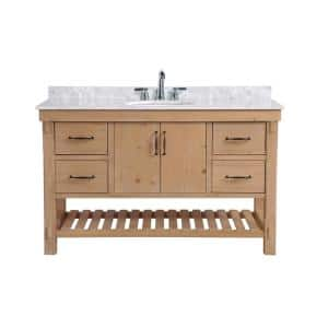 Marina 55 in. Single Bath Vanity in Driftwood with Marble Vanity Top in Carrara White with White Basin