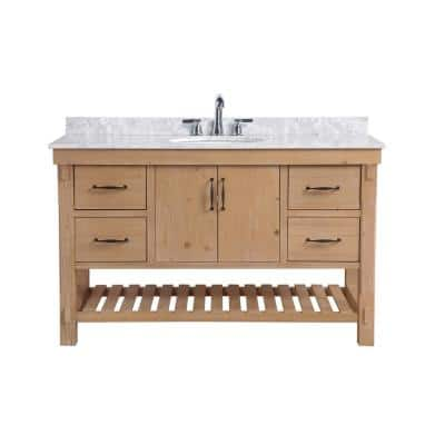 Ari Kitchen And Bath Marina 60 In Double Bath Vanity In Driftwood With Marble Vanity Top In Carrara White With White Farmhouse Basins Akb Marina 60dw The Home Depot