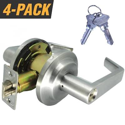 Heavy-Duty Satin Chrome Grade 2 Switch Style Entry Storeroom Lever Lock Set with 8 SC1 Keys (4-Pack, Keyed Alike)