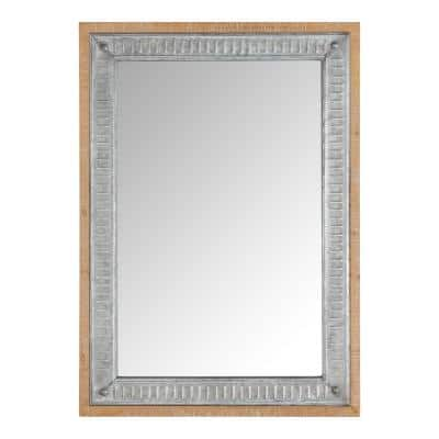 Small Rectangle Galvanized Antiqued Farmhouse Accent Mirror (20 in. H x 28 in. W)