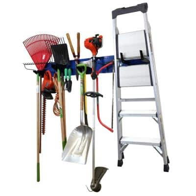 8 in. H x 64 in. W Garage Tool Storage Lawn and Garden Tool Organizer Rack with Blue Metal Pegboard and Black Hook Set