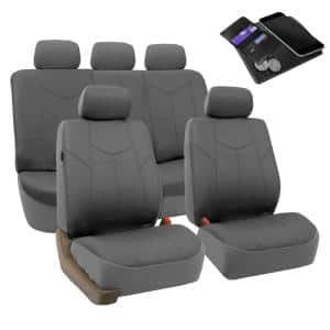 Fh Group Pu Leather 47 In X 23 In X 1 In Rome Full Set Seat Covers Dmpu009gray115 The Home Depot