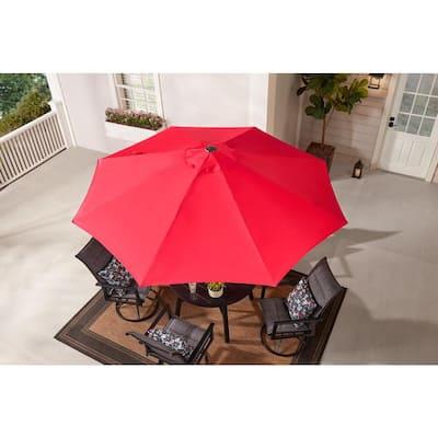 9 ft. Aluminum Market Crank and Tilt Patio Umbrella in Ruby