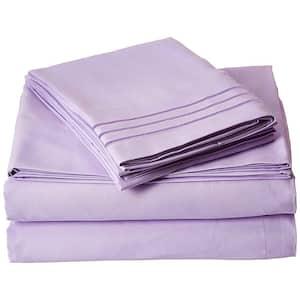 4-Piece Lilac Solid Microfiber King Sheet Set