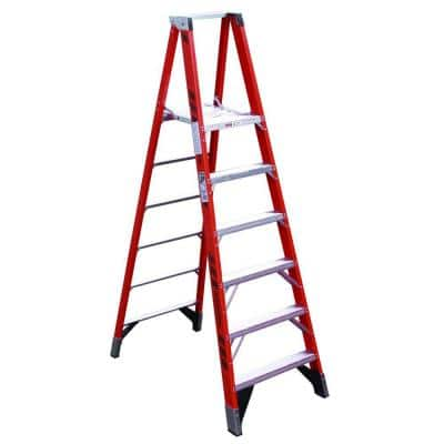 16 ft. Reach Fiberglass Platform Step Ladder with GLASMARK 300 lb. Load Capacity Type IA Duty Rating