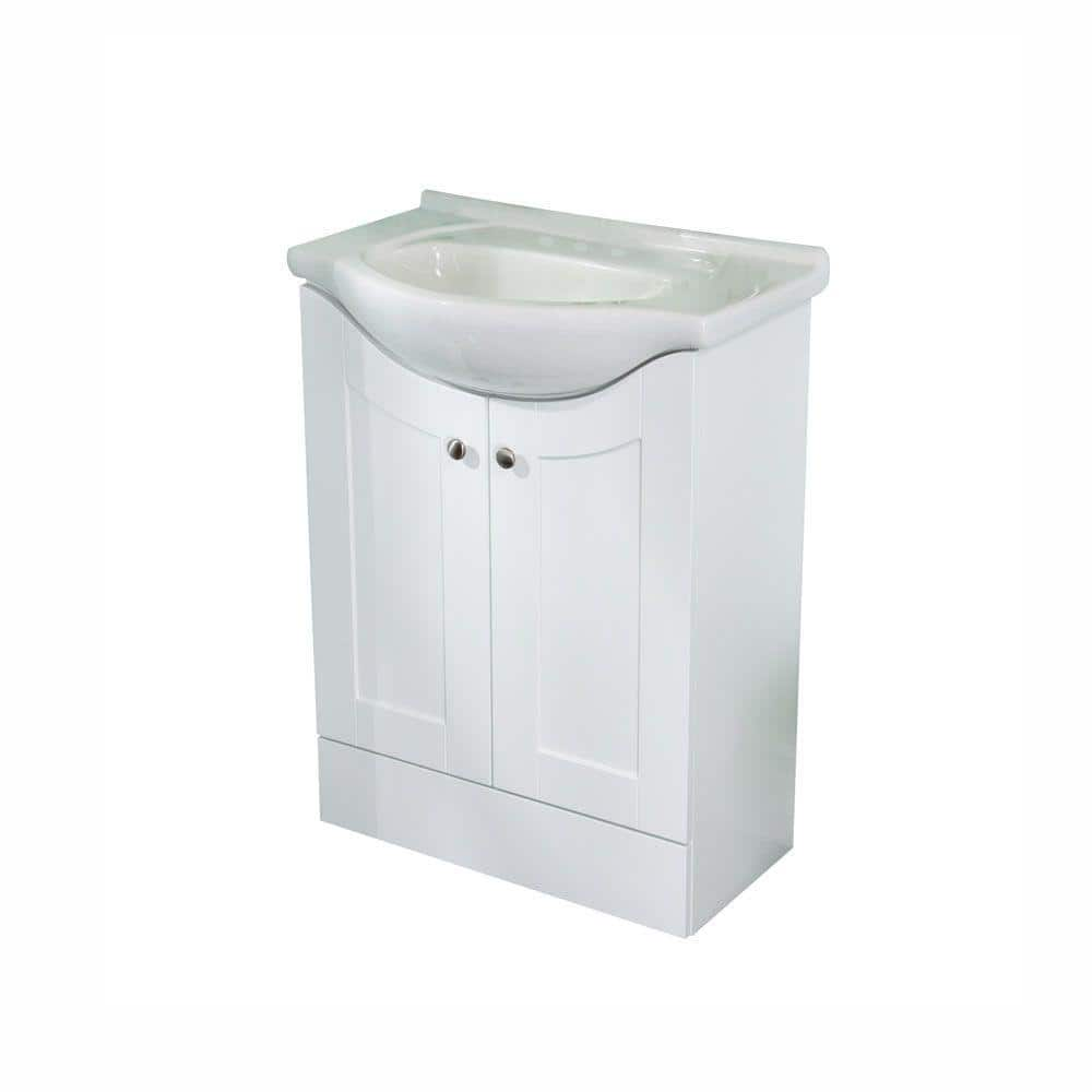 St Paul Kelly 26 In W X 18 In D Bathroom Vanity In White With Euro Porcelain Vanity Top In White With White Sink Ke24p2p Wh The Home Depot