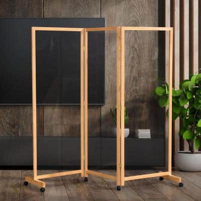 Clear 5.75 ft. Tall Natural 3-Panel Wheeled Room Divider