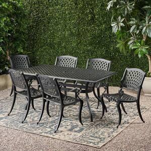 Cayman Black 7-Piece Cast Aluminum Rectangular Outdoor Dining Set