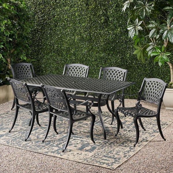 Noble House Cayman Black 7 Piece Cast, Aluminum Patio Furniture