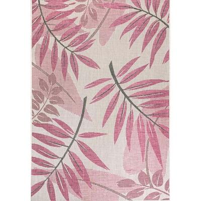 Trudy Art Deco Leaves Pink 6 ft. 3 in. x 9 ft. Indoor/Outdoor Area Rug