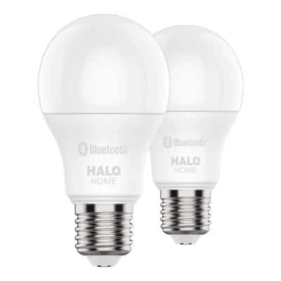 60W Equivalent A19 Dimmable Adjustable CCT (2700K-5000K) Smart Wireless LED Light Bulb in White (2-Pack)