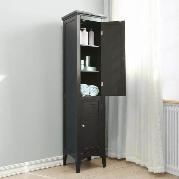 Elegant Home Fashions Simon 15 In W X 63 In H X 13 In D Bathroom Linen Storage Tower Cabinet With 2 Shutter Doors In Dark Espresso Hdt598 The Home Depot