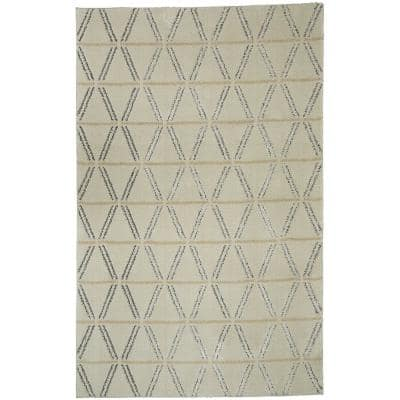 Linear Diamonds Cream 8 ft. x 10 ft. Area Rug