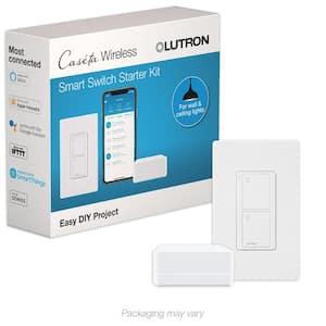 Caseta Smart Switch Starter Kit with Smart Bridge, White