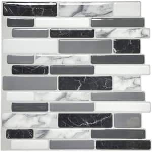 12 in. x 12 in. Grey Peel and Stick Wall Tile Backsplash for Kitchen (10-Pack)