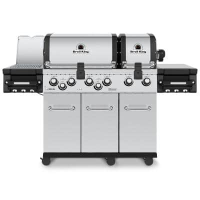 Regal S 690 PRO IR 6-Burner Propane Gas Grill in Stainless Steel with Infrared Side Burner and Rear Rotisserie Burner