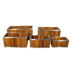 14 in. x 28 in. Rectangular Medium Brown Wooden Planter with Stainless Steel Trim