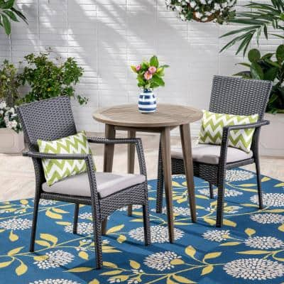 Arezzo Gray 3-Piece Wood and Wicker Outdoor Bistro Set with Gray Cushions