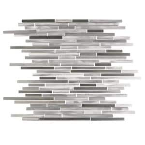 City Lights New York Gray Thin Linear Mosaic 12 in. x 16 in. Brushed Aluminum Metal Wall Tile (10.3 sq. ft./Case)