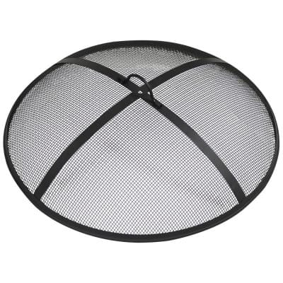 30 in. Round Black Steel Fire Pit Spark Screen