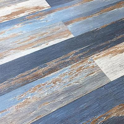 Take Home Sample COLORS Floor and Wall DIY Old Blue Sea Aged Wood 6 in. x 6 in. Painted Style Luxury Vinyl Plank