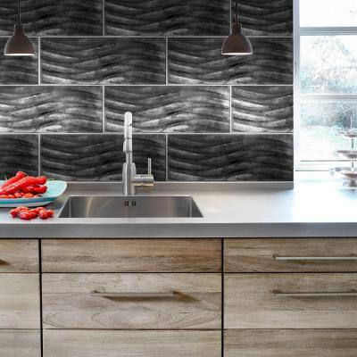 Silver Foil Waves 8 in. x 24 in. Subway Gloss Glass Wall Tile (1.333 sq. ft./ Each)