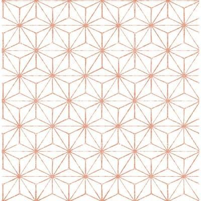 Orion Coral Geometric Coral Wallpaper Sample