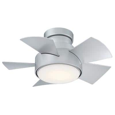 Vox 26 in. LED Indoor/Outdoor Titanium Silver 5-Blade Smart Flush Mount Ceiling Fan w/ 3000K Light Kit and Remote