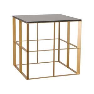 Milo 24 in. Gold Square Granite End Table