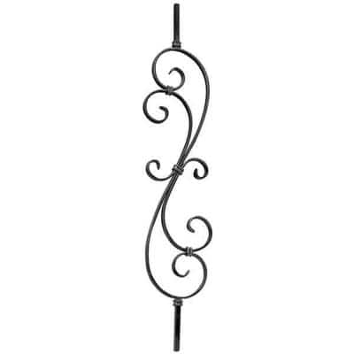 39-3/8 in. x 1/2 in. x 7-9/32 in. Wrought Iron Square Bar Single Wide Scroll Ends Forged Raw Picket