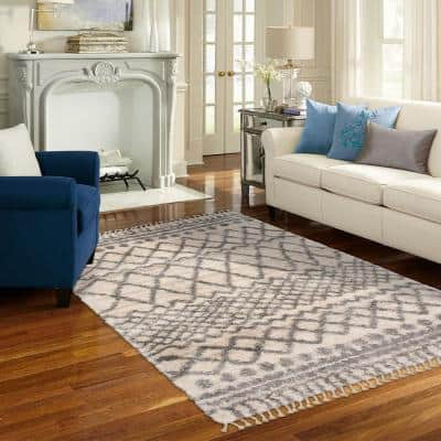 Caspian Cream 6 ft. x 9 ft. Moroccan Area Rug
