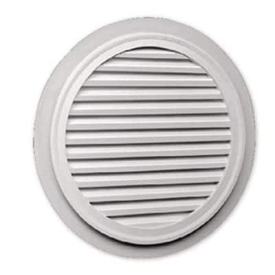 32 in. x 32 in. Round White Polyurethane Weather Resistant Gable Louver Vent