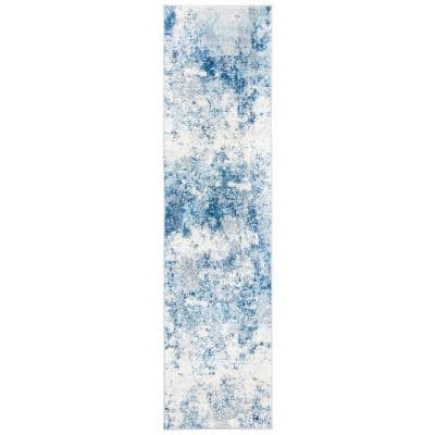 Brentwood Ivory/Navy 2 ft. x 8 ft. Abstract Runner Rug