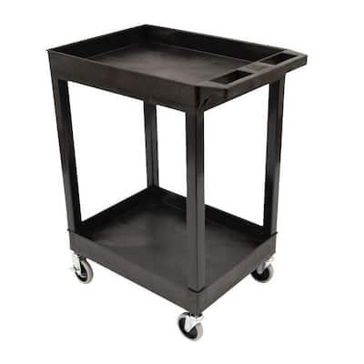 SEC 2-Shelf Plastic Utility Cart in Black