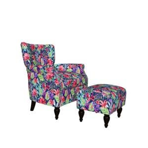 Duncan Multi-Navy Botanical Floral Velvet Channel Tufted Rolled Arm Chair and Ottoman Set