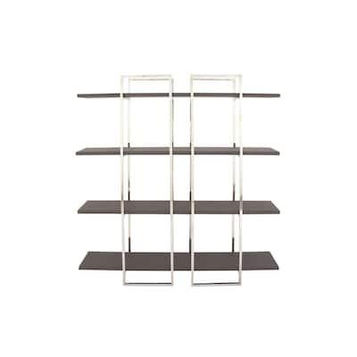 69 in. Metallic Silver/Dark Brown Metal 4-shelf Etagere Bookcase with Open Back