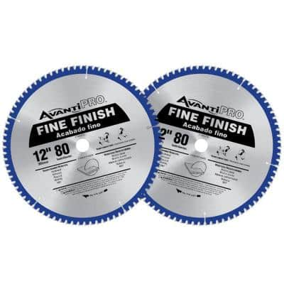 12 in. x 80-Teeth Fine Finish Saw Blade (2-Pack)