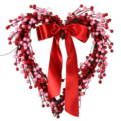 14 in. Dia Berries and Ribbon Valentine Heart