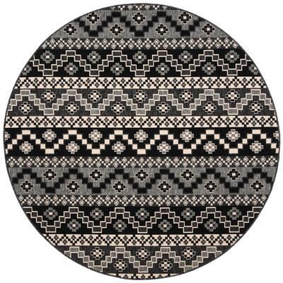 Veranda Black/Beige 5 ft. x 5 ft. Aztec Tribal Indoor/Outdoor Round Area Rug