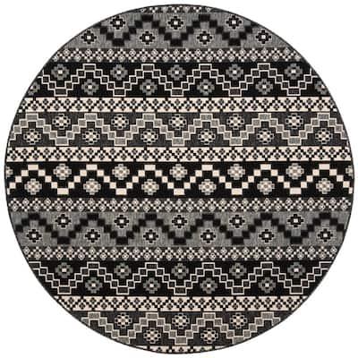 Veranda Black/Beige 8 ft. x 8 ft. Aztec Tribal Indoor/Outdoor Round Area Rug