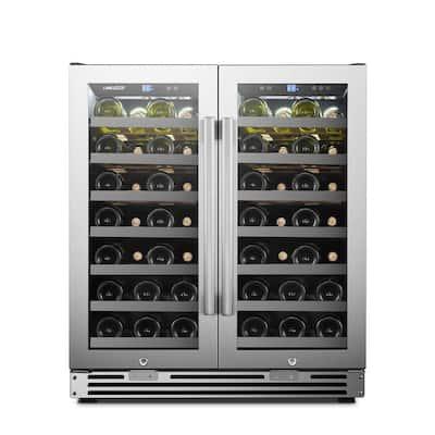 62 Bottle 2 Door Seamless Stainless Steel Wine Refrigerator