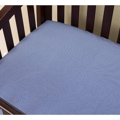 Sidekick Blue Check Cotton Fitted Baby Crib Sheet