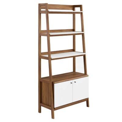 Bixby 71 in. Walnut White 4-Shelf Standard Bookcase with Concealed Storage Area