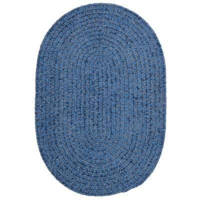 Dover Chenille Petal Blue 5 ft. x 7 ft. Oval Braided Area Rug