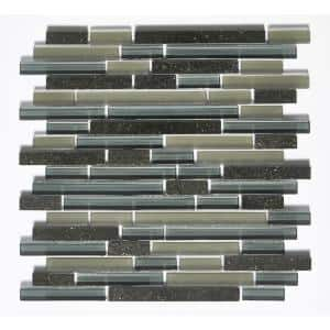 Premium Black Coffee Linear Mosaic 12 in. x 12 in. Glass and Stone Wall Tile (11 sq. ft.)