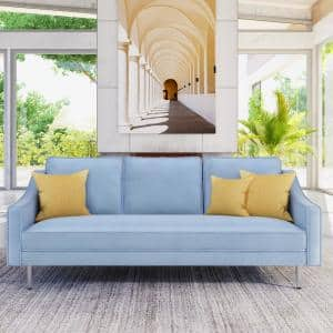 76.2 in. W Sky Blue Solid Wood Frame Velvet 3-Seats Sofa with Metal Legs